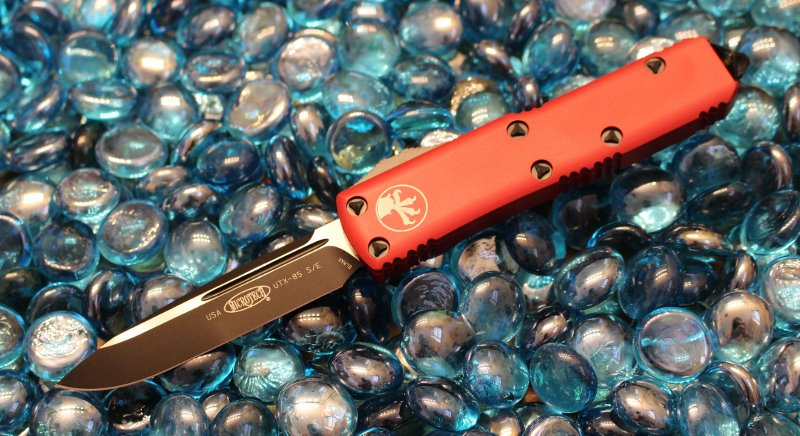SOLD Microtech UTX-85 Red S/E Black Standard <p> 231-1RD