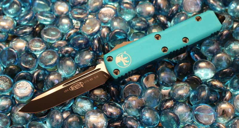 SOLD Microtech UTX-85 Turquoise S/E Black Standard <p> 231-1TQ