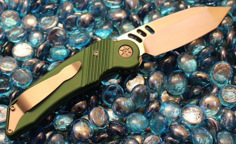 SOLD Ratworx MRX Green Hand Ground Satin Tanto Blade