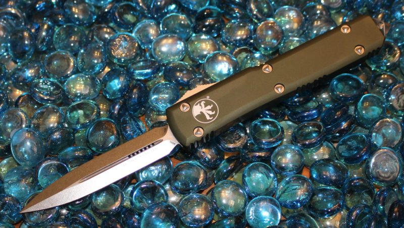 SOLD Microtech Ultratech Contour OD Green D/E Stonewash Standard <p> 122-10OD