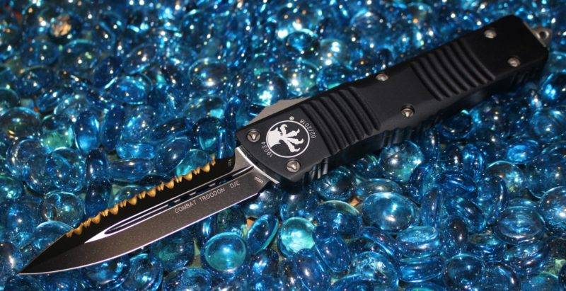 SOLD Microtech Combat Troodon D/E Black Full Serrated <p> 142-3