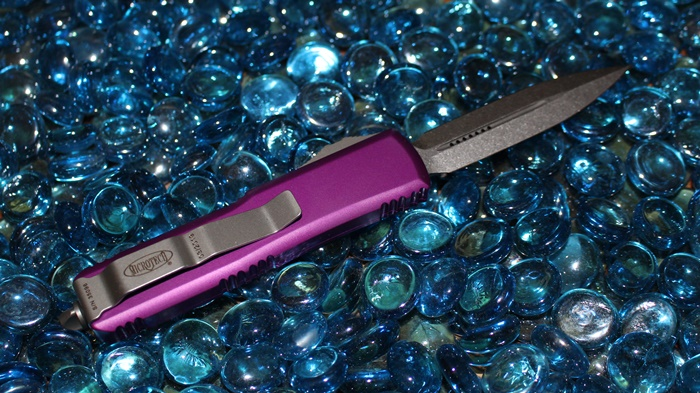 Microtech UTX-85 Violet  D/E Stonewash Standard<p> 232-10VI