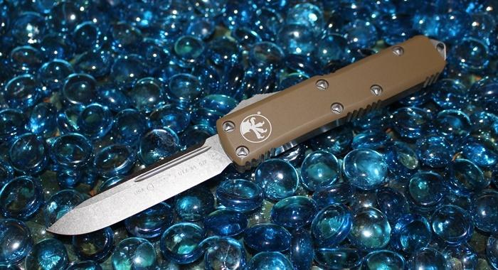 Microtech UTX-85 Tan S/E Stonewash Standard<p>231-10TA
