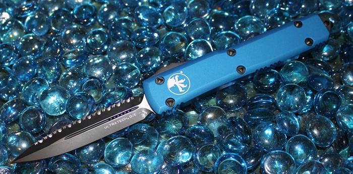 Microtech Ultratech Blue D/E Black Serrated 122-3BL